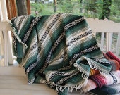 Free Shipping  Vintage Woven Mexican Blanket Green White black Tribal Southwestern Picnic Beach Ethnic Native Home Decor