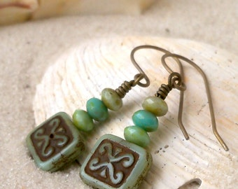 Pure Titanium- Hypoallergenic - Gift for Her - Bead Earrings - Handmade Earrings - Drop Earrings - Green Earrings - Titanium Earrings