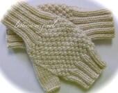 Fingerless Mittens, Ladies and Teens, Hand Knit, Winter White