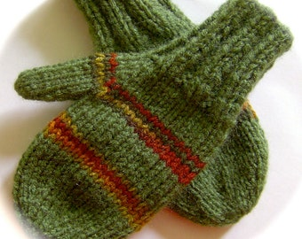Mittens, Children, Hand Knit, Sage Green, Multicolor Stripes, 3 to 4 years