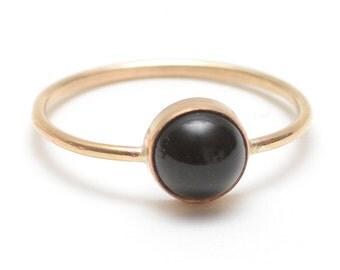 Black Onyx Ring, Minimal + Delicate Gold Stacking Ring, Black + Gold Ring, Hypoallergenic 14k Gold Fill - Gumdrop Ring