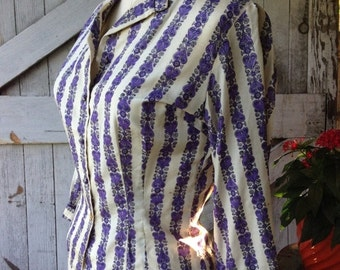 1950s silk blouse 50s Malbe button front top size small Vintage purple floral shirt