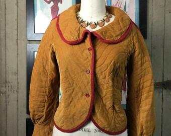 Fall sale 1980s jacket corduroy jacket mustard jacket size medium large Vintage jacket bishop sleeve jacket
