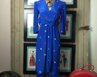 Fall sale 1980s dress blue dress wrap dress size small 80s dress office dress puff shoulders Vintage dress secretary dress