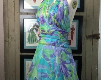 Fall sale 1960s dress chiffon dress halter dress size medium vintage dress sheer dress 60s dress cocktail dress
