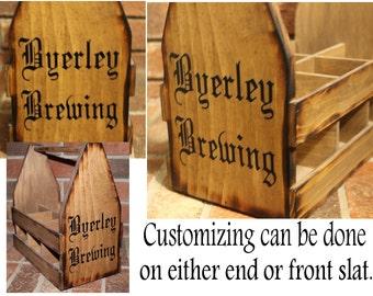 Wooden BEER Holder 6 pack holder - Beer Carrier - Wood beer caddy - Wood 6 pack holder - Personalized Beer Caddy - Personalized Beer Holder