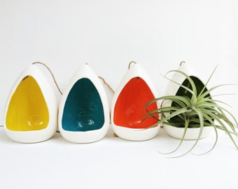 Hanging Planter Ceramic with a POP of Color!