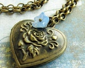 SALE 20% off Locket Necklace, Gift for her, locket Pendant, Renaissance Heart Locket, Blue Flower