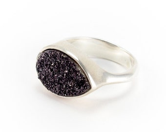 Black Druzy Drop with Sterling Silver Bezel