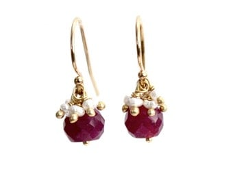 Ruby and Freshwater Pearl Earrings/Handmade/Simple Everyday Jewelry/Elegant Jewelry