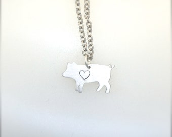 New-Mini Pig with Heart Necklace-Vegan Jewelry-Vegan Necklace-Pig Jewelry- Vegan Gift-Eco Friendly-Valentines Day