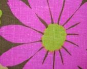 VINTAGE fabric mod flower fabric lime pink orange flower power