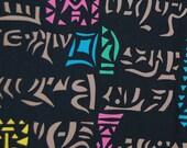 RARE Julio de Diego AAA 1954 Hieroglyphics Tiki Hawaiian fabric abstract graphics on black