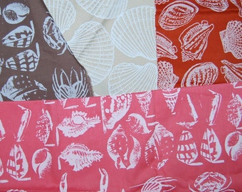 OOP 70s Jim Tillett lot remnant sea shells fabric cotton screen prints