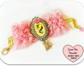 Vintage Silhouette Cameo Bracelet - Queen Bee - Lace Bracelet Pink Yellow