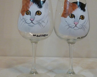 Hand Painted Calico Cat Wine Glasses set of 2 by Mary Wilson Pet Lovers Boutique