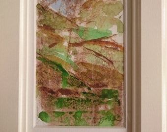 Lochs and mountains, Scottish moors, framed mixed media original