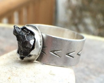ON SALE - Meteorite Sterling Silver Wide Band Statement Ring - US Size 6.5