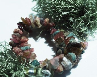8 Inch Strand, Mulit-Color Tourmaline Chips, 10-4MM