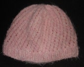 """New Handmade Pink Angel Hair Boucle """"Spin Cycle"""" Knit Hat - Women's Medium - Large"""