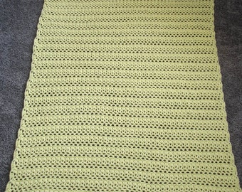 """Pale Yellow """"Snow White for Baby #1"""" Crocheted Baby Blanket/Afghan - 35"""" x 47"""""""