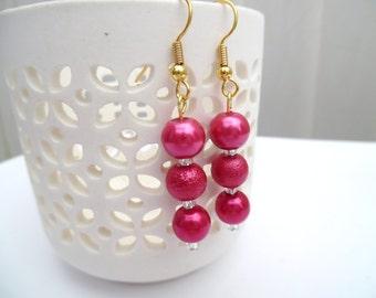 Raspberry Pink Pearl Earrings, Dark Pink Bridesmaid Earrings, Jewelry For Bridesmaids, Beaded Earrings, Wedding Jewelry, Dangle Earrings