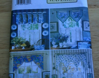 Waverly Handkerchief point valances sewing pattern, Window Treatment Curtain Home sewing pattern, uncut valance pattern, cottage Butterick