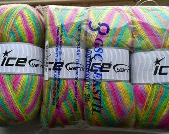 Ice yarns Angora Acrylic blend in pastel rainbow ombre