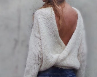 ivory vneck sweater, women's slouchy pullover, women's sweater, ivory sweater, vneck sweater,