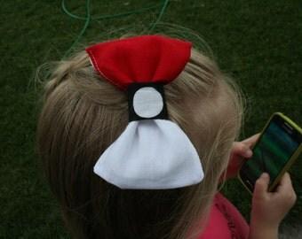 Pokemon Go Pokeball inspired hair bow clip, Girls Pokemon hair accessory, team mystic, team instinct, team valor barrette barette