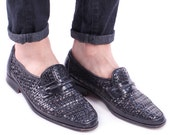 LEATHER LOAFERS Shoes 80s for Men Slip On Black Woven Moccasins Basket Weave Flats Retro Europe Penny Shoes Size Us men 8.5 , Eur 42, UK 8