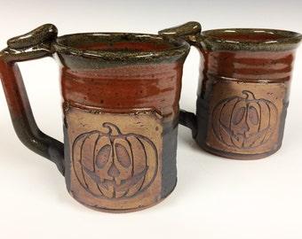 SALE  Pumkin mug, Handmade personalized pottery, ready to ship