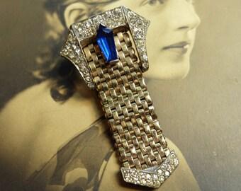 SALE Vintage Kreisler Fur Clip Metal Rhinestone Buckle Design