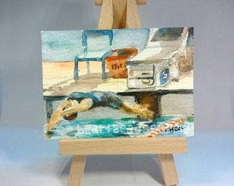 Sale Swimming Sport Get Set, Go ACEO Watercolor Painting id1340801 not a print, miniature, wallart, Aquarellmalerei, peinture à l'aquarelle