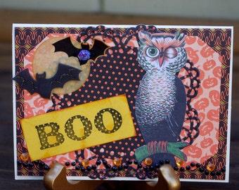 Handmade Halloween Vintage Shabby Owl Card