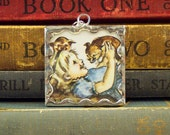 Tasha Tudor Pendant Girl Holding Corgi Puppies - Tasha Tudor Book Vintage Illustration - Puppy Dog Pendant - Tasha Tudor Jewelry Puppy Charm
