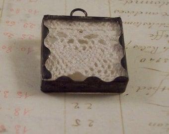 Vintage Lace Pendant - Soldered Glass Lace Pendant - Vintage Lace Shadow Box Pendant - Edwardian Victorian Style Soldered Glass Lace Pendant