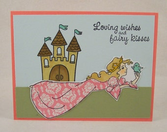 Princess Card - Hand Stamped Greeting Card - Fairy Tale Castle - Birthday Wishes - Princess Greeting Card - Fantasy Note Card - Hand Made
