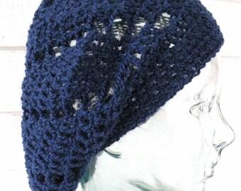 Navy Blue Dark Blue Lacy Spiral Alpaca Slouchy Beanie Hat