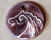 Rustic Brown Horse Ceramic Bead - Handmade Pendant Bead with Extra Large Hole - Jewelry Supplies