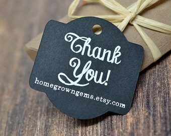 Chalkboard Style Thank You Hang Tags - Gift Tags - Packaging - White on Black Glitter Gold Silver - Wedding   DS0091