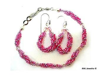 Pink Bracelet Matching Earrings - Bracelet and Earrings - Feminine Jewelry  ~ B0907-02