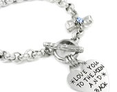 Hand Stamped Bracelet, Love you to the Moon and Back, Heart Bracelet, Birthstone Bracelet, Hand Stamped Heart