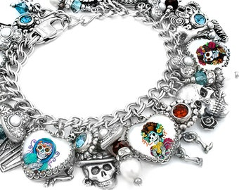 Gothic Jewelry, Day of the Dead Charm Bracelet, Dia de los Muertos, Gothic Bracelet, Red and Turquoise, Fresh Water Pearl Bracelet