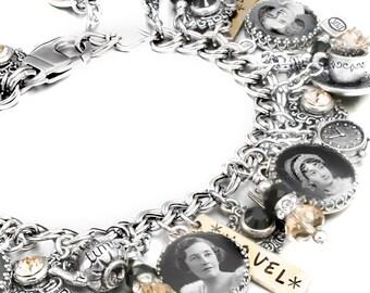 Authors Charm Bracelet, Literary Jewelry, Writers Charm Bracelet, Writers Jewelry, Picture Bracelet, Silver Authors Bracelet