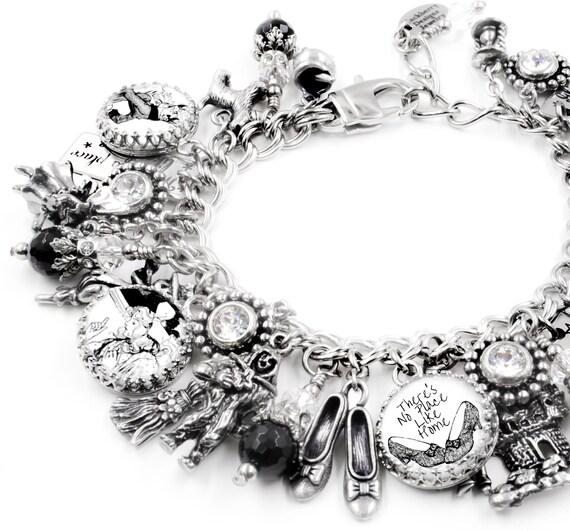 Wizard of OZ Charm Bracelet, Wizard of OZ Jewelry, Glinda Jewelry, Wizard of Oz Bracelet, There's No Place Like Home