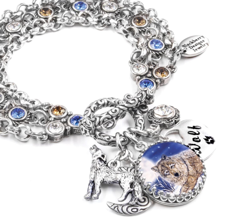 Wolf Bracelet Wolf Jewelry Wolves Jewelry Charm Bracelet