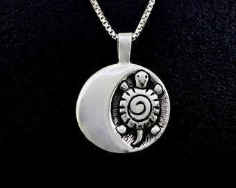 Turtle Moon (September), Necklace,  Recycled sterling silver necklace, re-purposed silver pendant