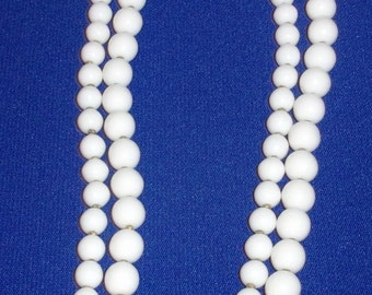 Vintage MIRIAM HASKELL Signed Double Strand Milk Glass Bead Necklace w/Flower Clasp