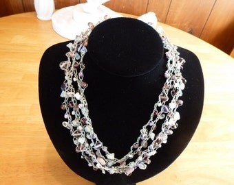 Lavender Haze - a Handmade Bead Crochet Necklace with Numerous Beads, Moonstone, Crystals